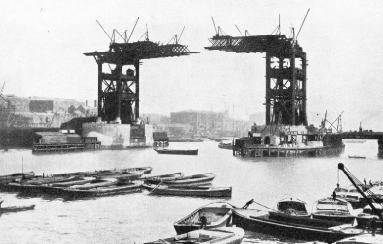 Construction of London's Tower Bridge