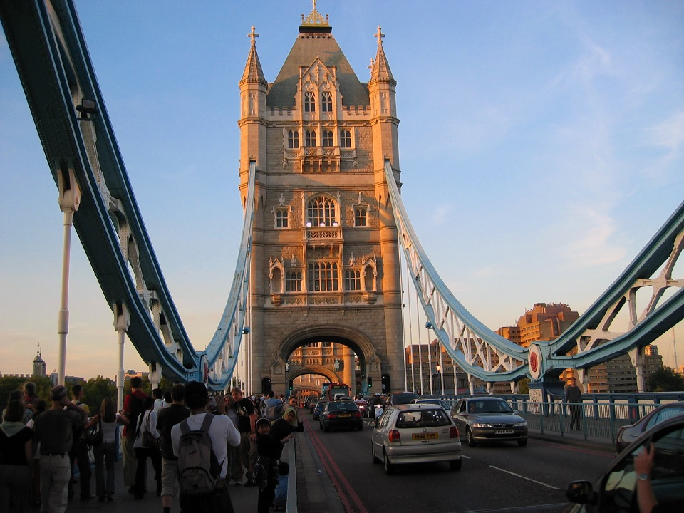 Walking across Tower Bridge, London