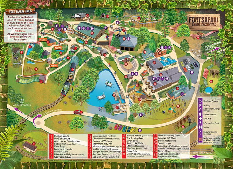 Woburn Safari Park Map, Bedfordshire