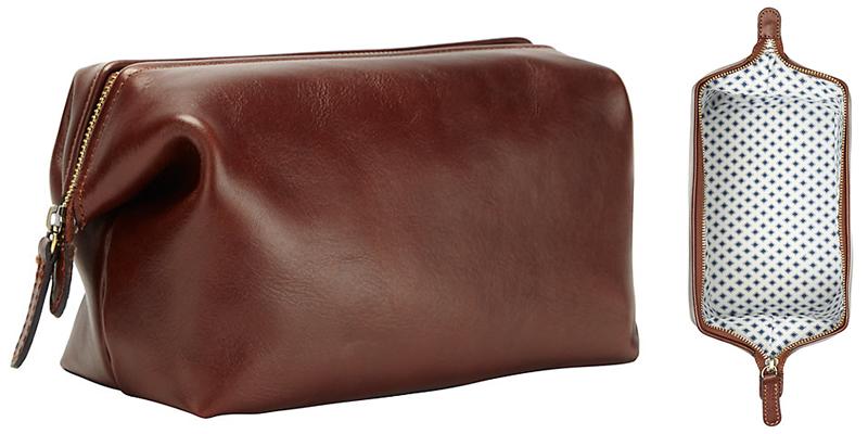 John Lewis Leather Wash Bag