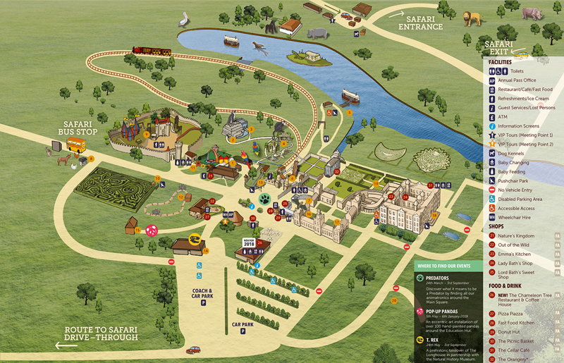 Longleat Safari and Adventure Park Map, Wiltshire