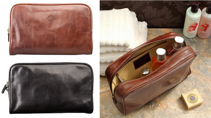 Maxwell Scott The Raffaelle Leather Wash Bag