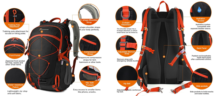 Mountaintop 40L Lightweight Hiking Backpack