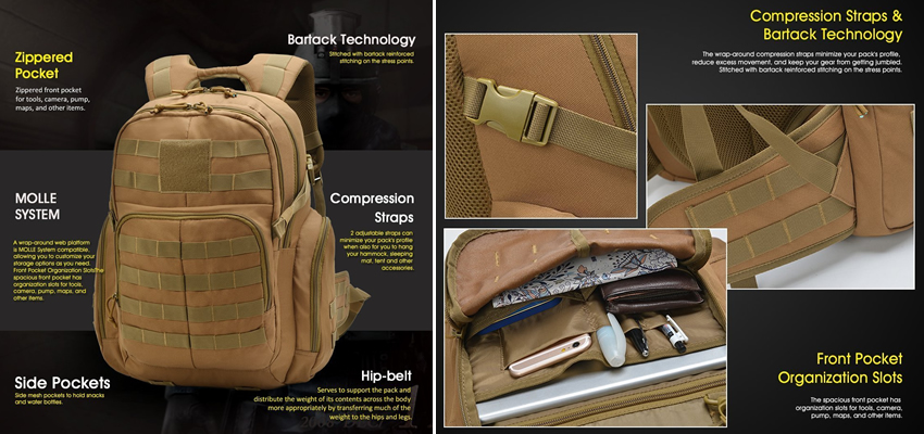 Mountaintop Tactical Hiking Backpack